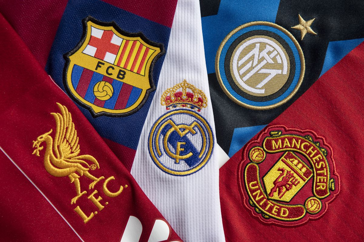 The Club Badges of Liverpool, Barcelona, Real Madrid, Inter Milan and Manchester United