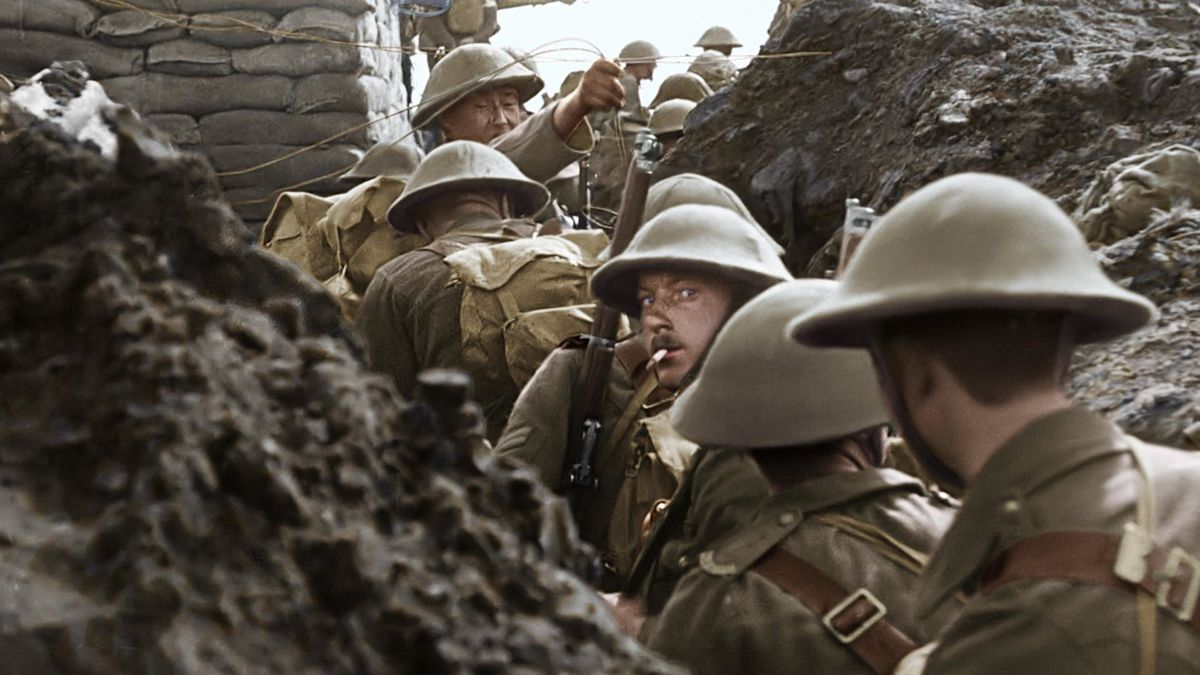 they shall not grow old: soldiers in a trench in world war I
