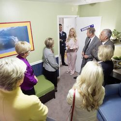 LDS leadership tours the Avenues Children's Justice Center Tuesday, April 28, 2015, in Salt Lake City.