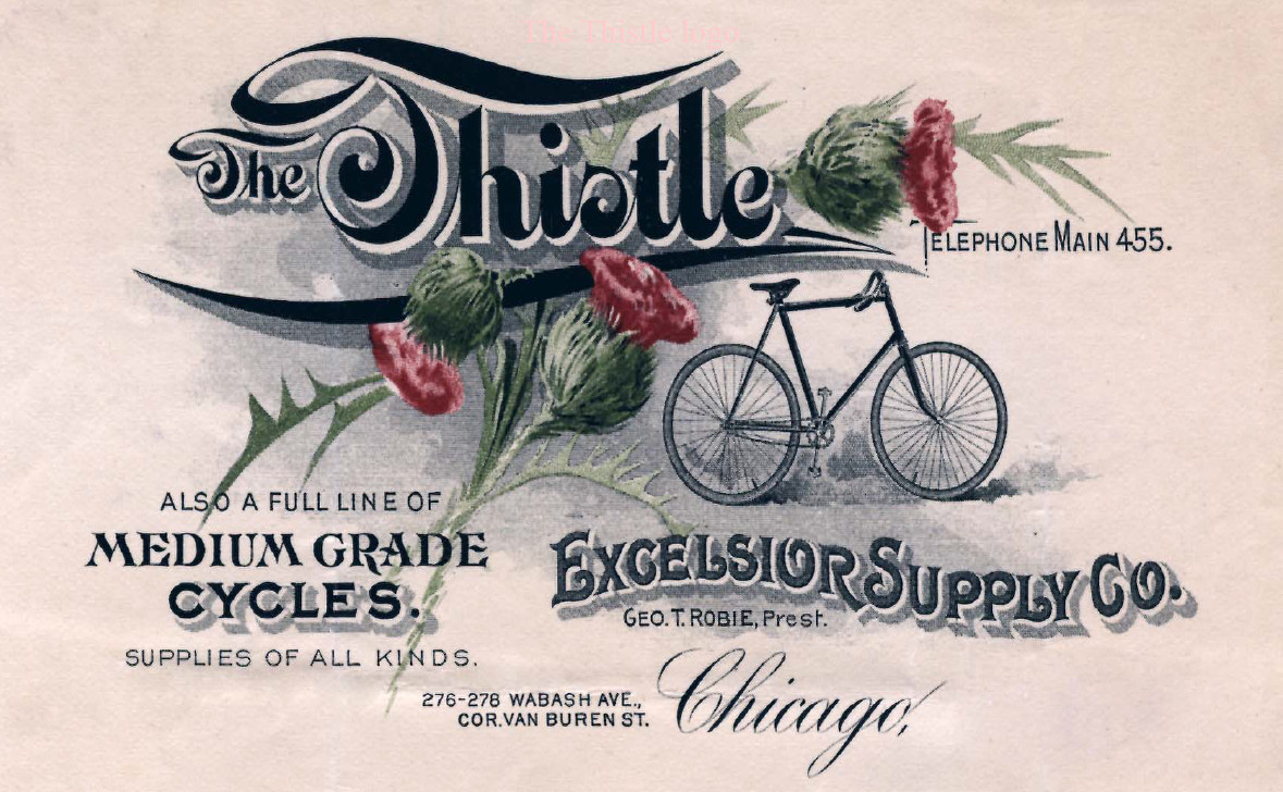 Tillie rides a Thistle – an add for the  Excelsior Supply Company's Thistle.