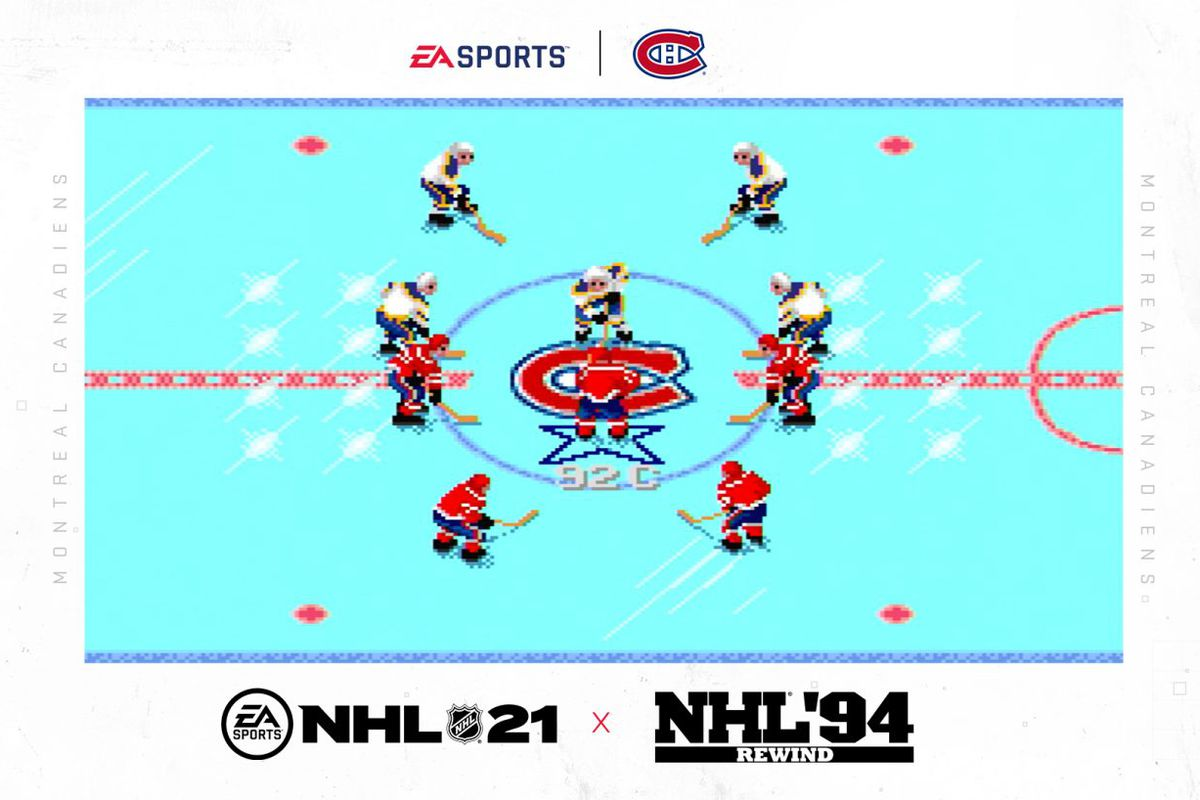 Screenshot of the throwback graphics of NHL '94 Rewind