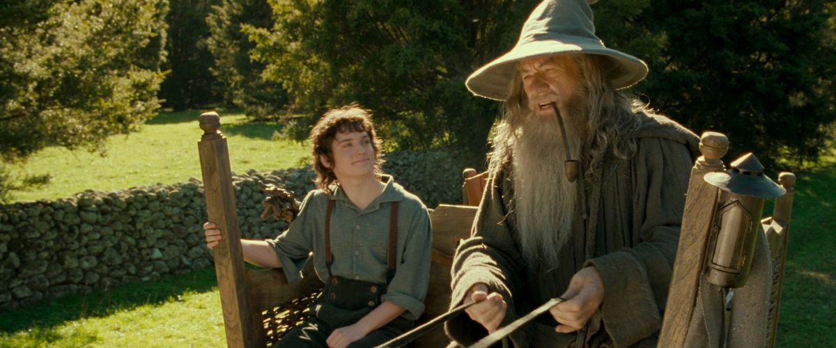 Frodo smiles like a goof while looking up at Gandalf who is steering the cart and smoking weed in The Lord of the Rings: Fellowship of the Rings