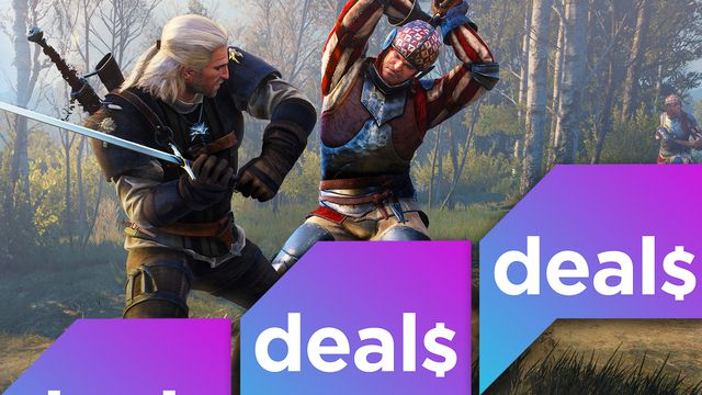 A screenshot from The Witcher 3: Wild Hunt overlaid with the Polygon Deals logo