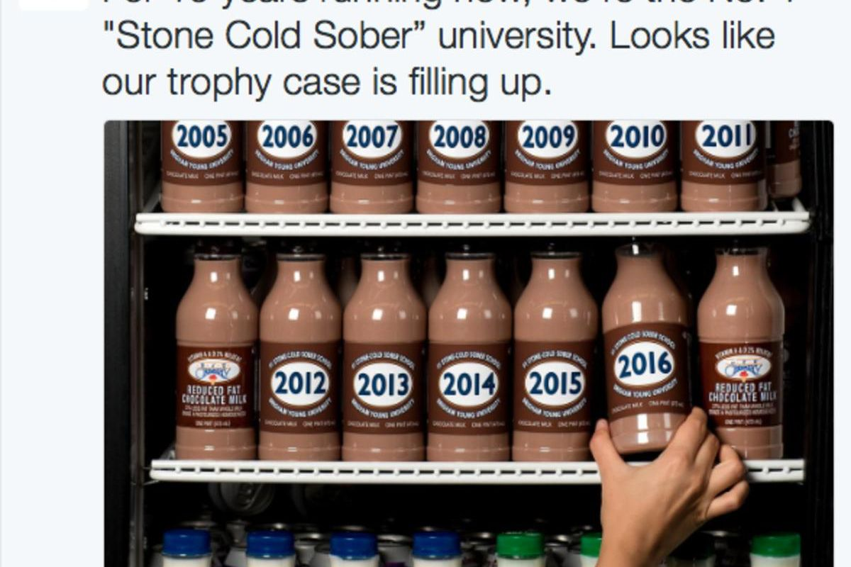 BYU is celebrating its latest accolade with a round of chocolate milk.