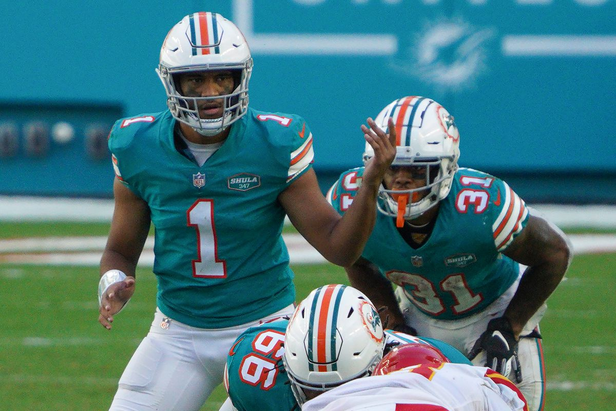 Tua Tagovailoa #1 of the Miami Dolphins in action against the Kansas City Chiefs at Hard Rock Stadium on December 13, 2020 in Miami Gardens, Florida.