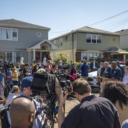 City, state and federal officials hold a press conference on 183rd Street in Hollis, Queens, following the death of multiple neighbors in Wednesday night's flooding. Sept 2, 2021.