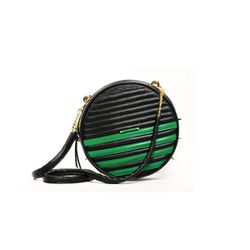 "<b>Lovelene</b> Cross Body Shield Bag in green/black, <a href=""http://www.cloakanddaggernyc.com/index.php?main_page=product_info&cPath=3_19&products_id=744&zenid=1hmu0m4ot816pqj7saqdv4pue5"">$462</a> (from $578) at Cloak & Dagger"