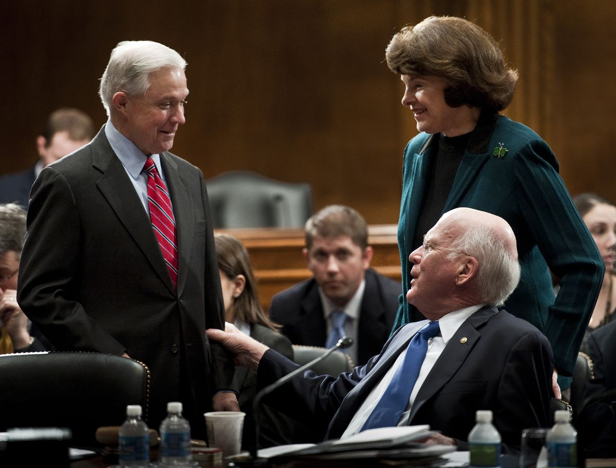 Jeff Sessions (L) with Sen. Dianne Feinstein (D-CA), the current ranking member of the Senate Judiciary Committee, and Sen. Patrick Leahy (D-VT), its former chair — who wrote a blistering op-ed against Sessions's attorney general nomination.