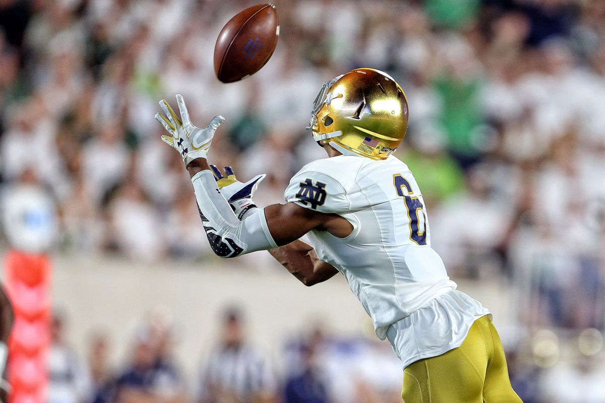 EAST LANSING, MI - Notre Dame Fighting Irish wide receiver Equanimeous St. Brown (6) makes a catch after getting behind the Michigan State Spartans defense (not pictured) during the first quarter a game at Spartan Stadium.