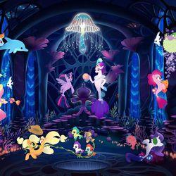 """Rainbow Dash (Ashleigh Ball, left), Fluttershy (Andrea Libman), Applejack (Ashleigh Ball), Twilight Sparkle (Tara Strong), Queen Novo (Uzo Aduba), Rarity (Tabitha St. Germain), Pinkie Pie (Andrea Libman), Spike (Cathy Weseluck) and Princess Skystar (Kristin Chenoweth) in """"My Little Pony: The Movie."""""""