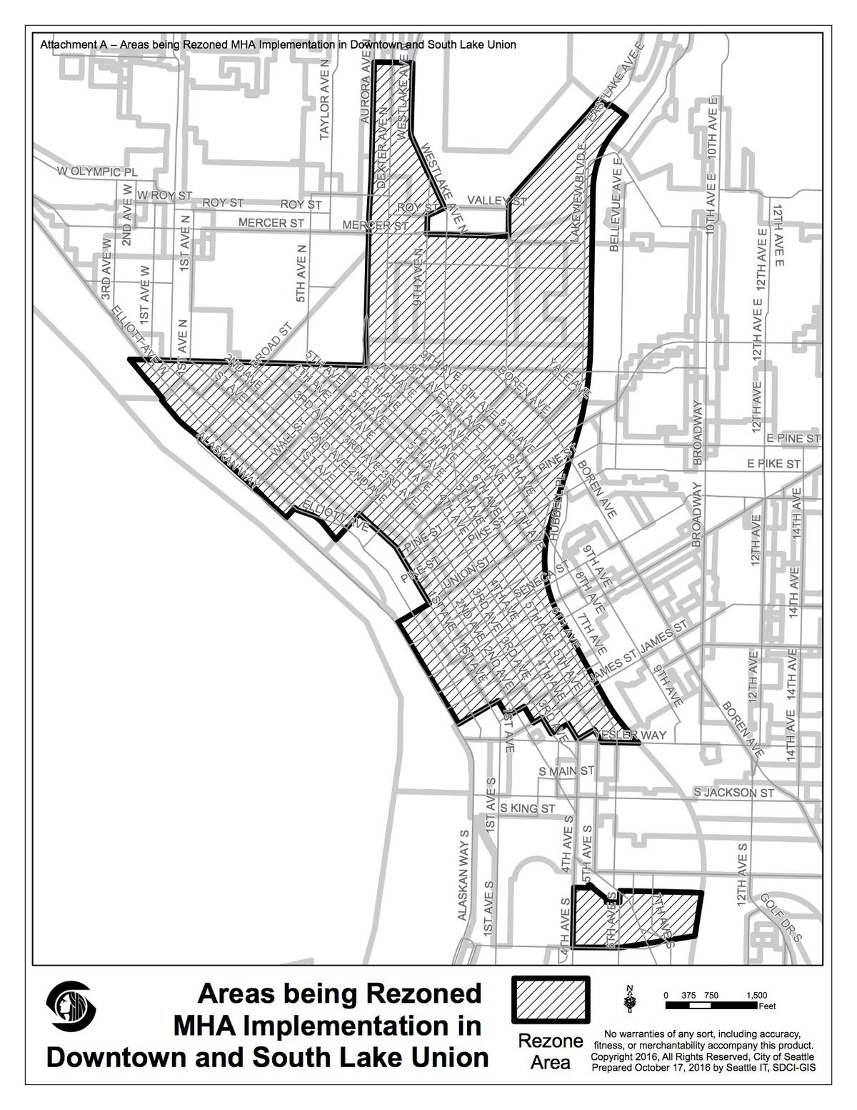 A black and white map of areas being rezoned