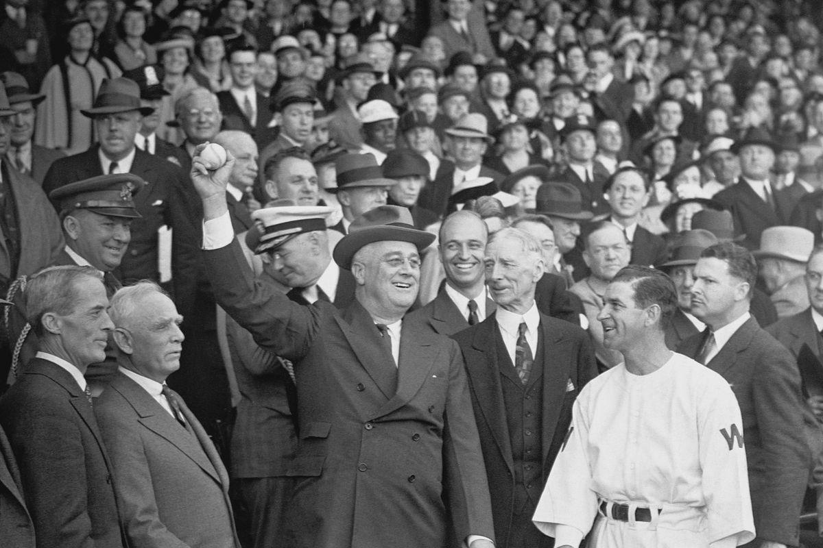 President Roosevelt Throwing Baseball