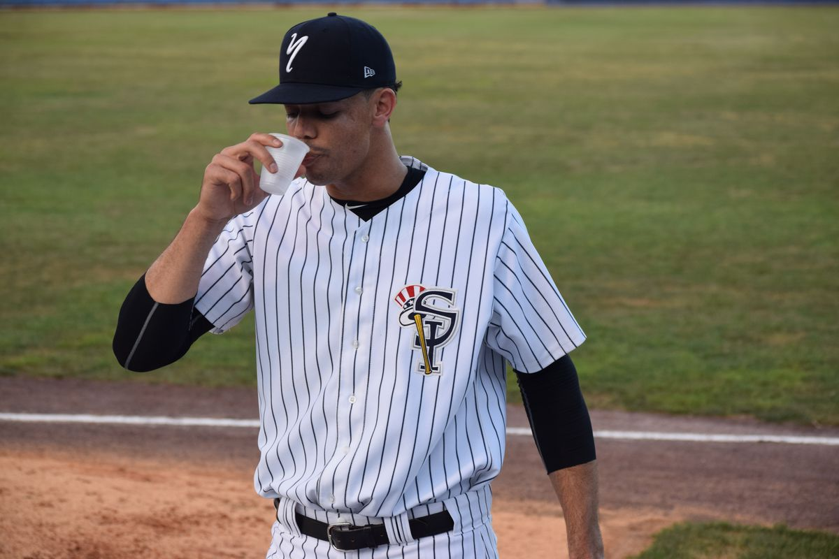 Freicer Perez gets hydrated before his start against Brooklyn Cyclones
