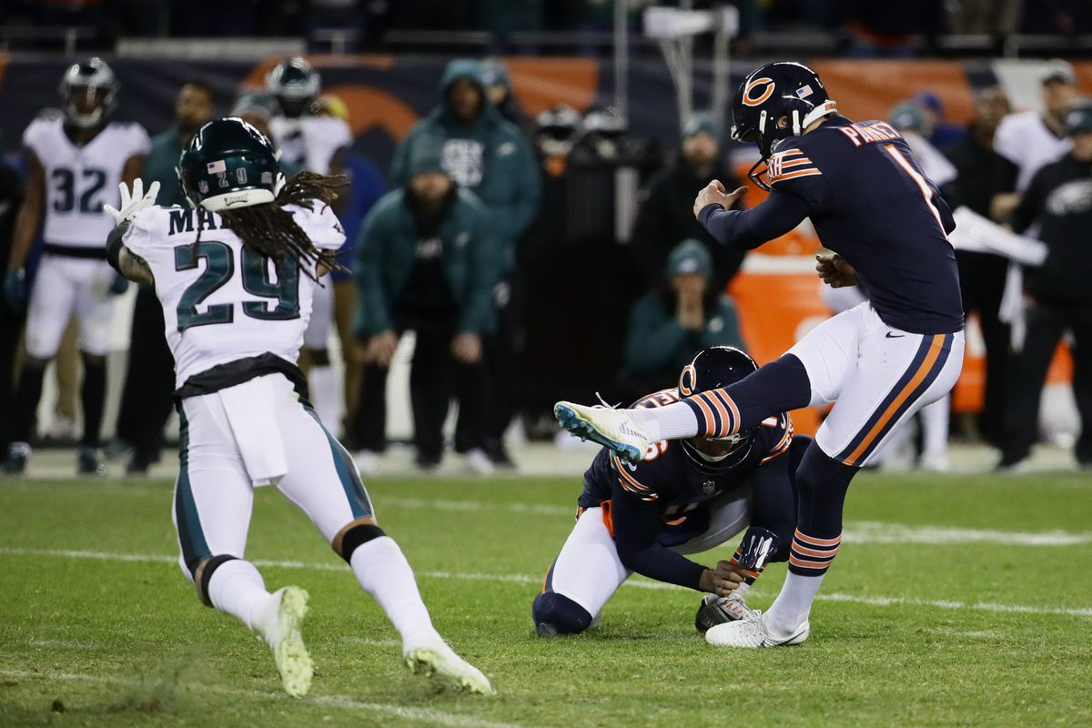 8a547a37241 Bears kicker Cody Parkey misses a field goal attempt in the final moments  of their 16-15 loss to the Eagles in the NFC Wild Card Playoff game at  Soldier ...
