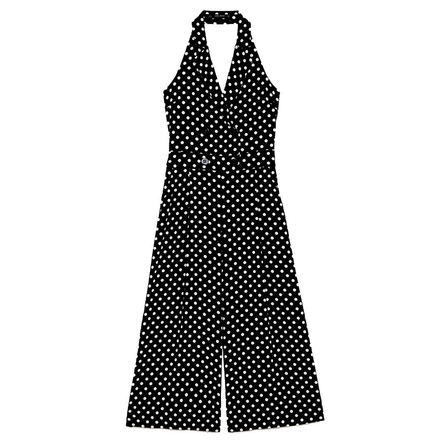 black and white polka dot jumpsuit