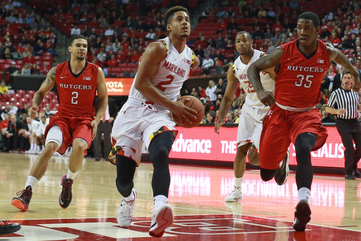 Maryland's Melo Trimble goes in for a layup against Rutgers