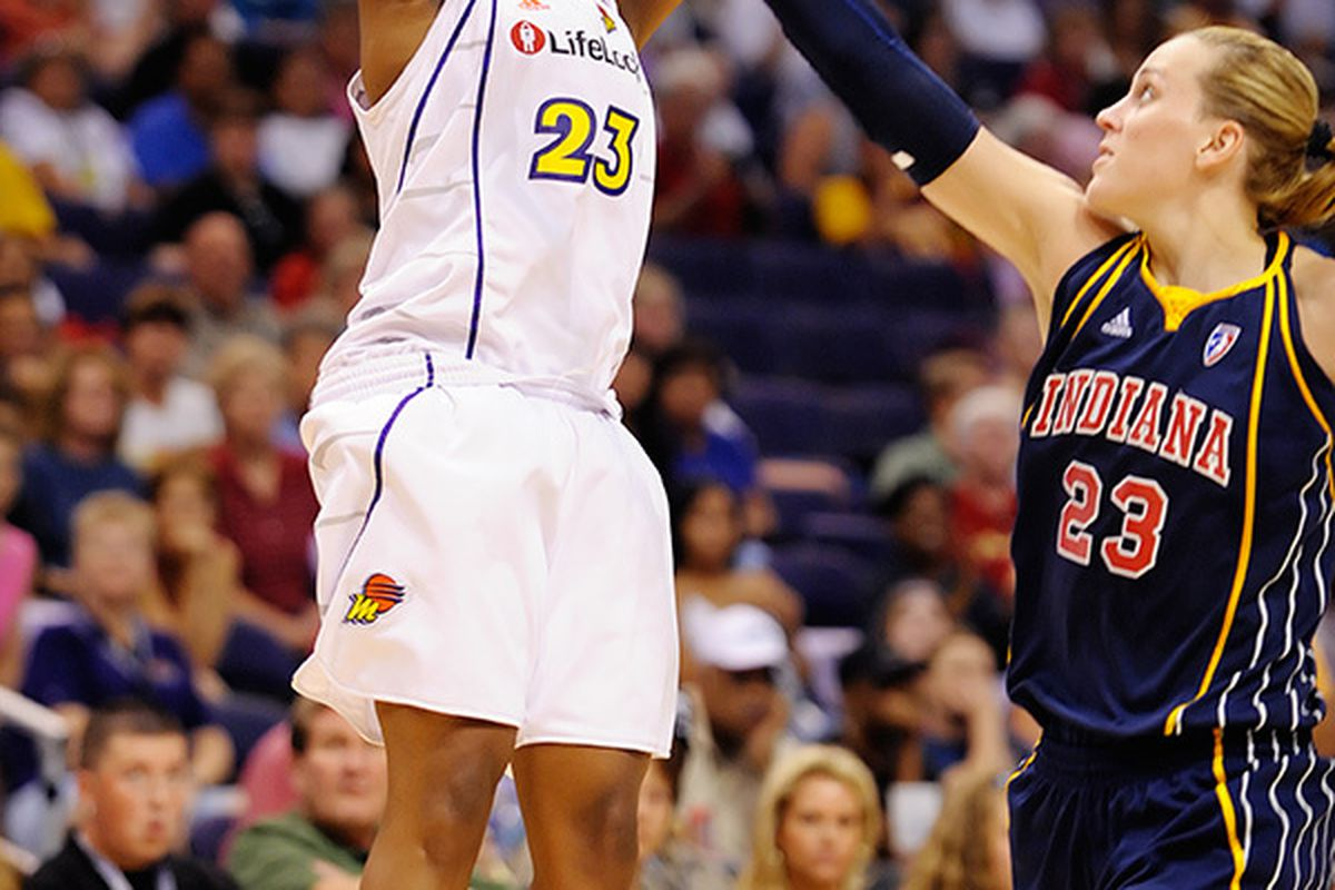 Katie Douglas and the Indiana Fever will look to slow down the high octane offense of Cappie Pondexter and the Phoenix Mercury in the WNBA Finals. Photo by Max Simbron