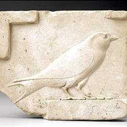"""""""Relief placque of a swallow,"""" Egyptian, Ptolemaic Period, 305-30 B.C., limestone."""