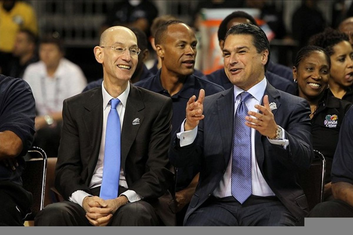 February 23, 2012; Orlando FL, USA; NBA deputy commissioner Adam Silver and Orlando Magic CEO Alex Martins during the All-Star jam session opening ceremonies at the Orange County Convention Center. Mandatory Credit: Kim Klement-US PRESSWIRE