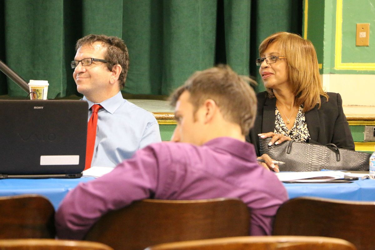 Smith Principal Evan Schwartz listened to students and parents at the hearing alongside Yolanda Torres, the city education department's newly appointed chief of community engagement.