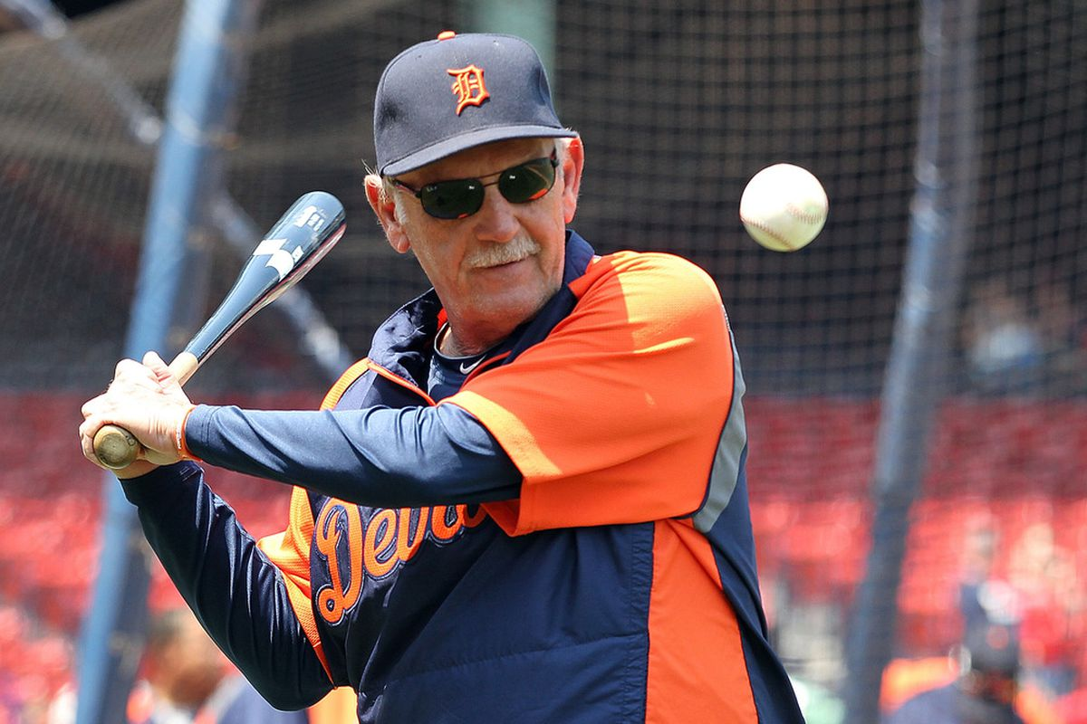 With his players failing to hit, Tigers manager Jim Leyland decided to pick up a bat himself.