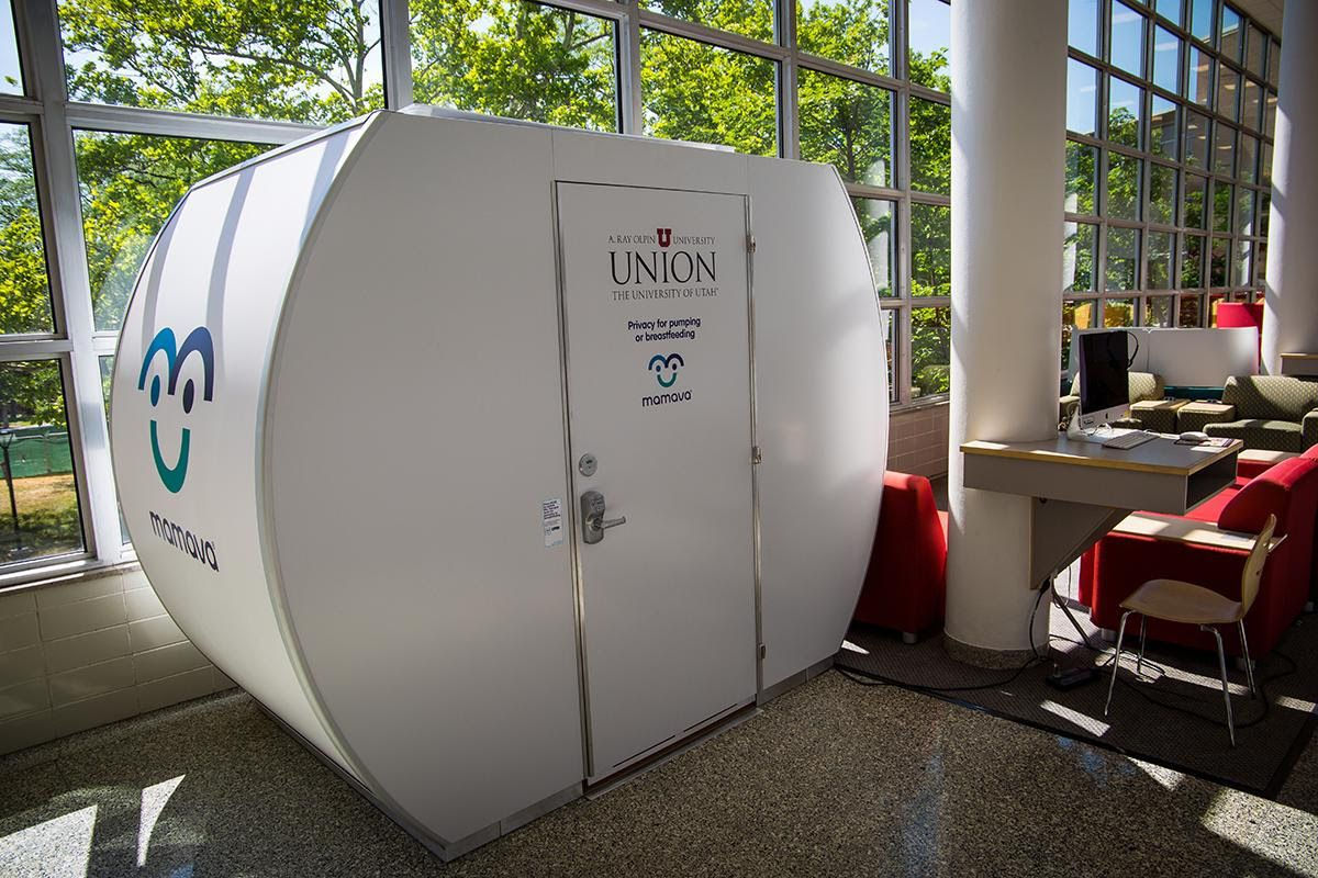 The Mamava lactation suite on the second floor of the A. Ray Olpin University Union at the University of Utah is a self-contained, mobile pod with benches, a fold-down table, an electrical outlet for plugging in a breast pump, and a door that can be locke