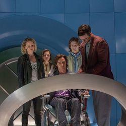 "Jennifer Lawrence, left, as Raven/Mystique, Rose Byrne as Moira MacTaggert, James McAvoy as Charles/Professor X, Lucas Till as Alex Summers/Havok and Nicholas Hoult as Hank McCoy/Beast star in ""X-Men: Apocalypse."""