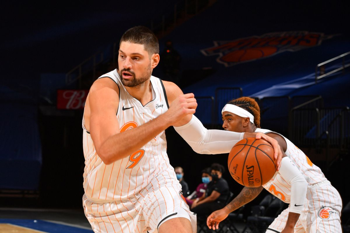 Nikola Vucevic of the Orlando Magic drives to the basket against the New York Knicks on January 18, 2021 at Madison Square Garden in New York City, New York.