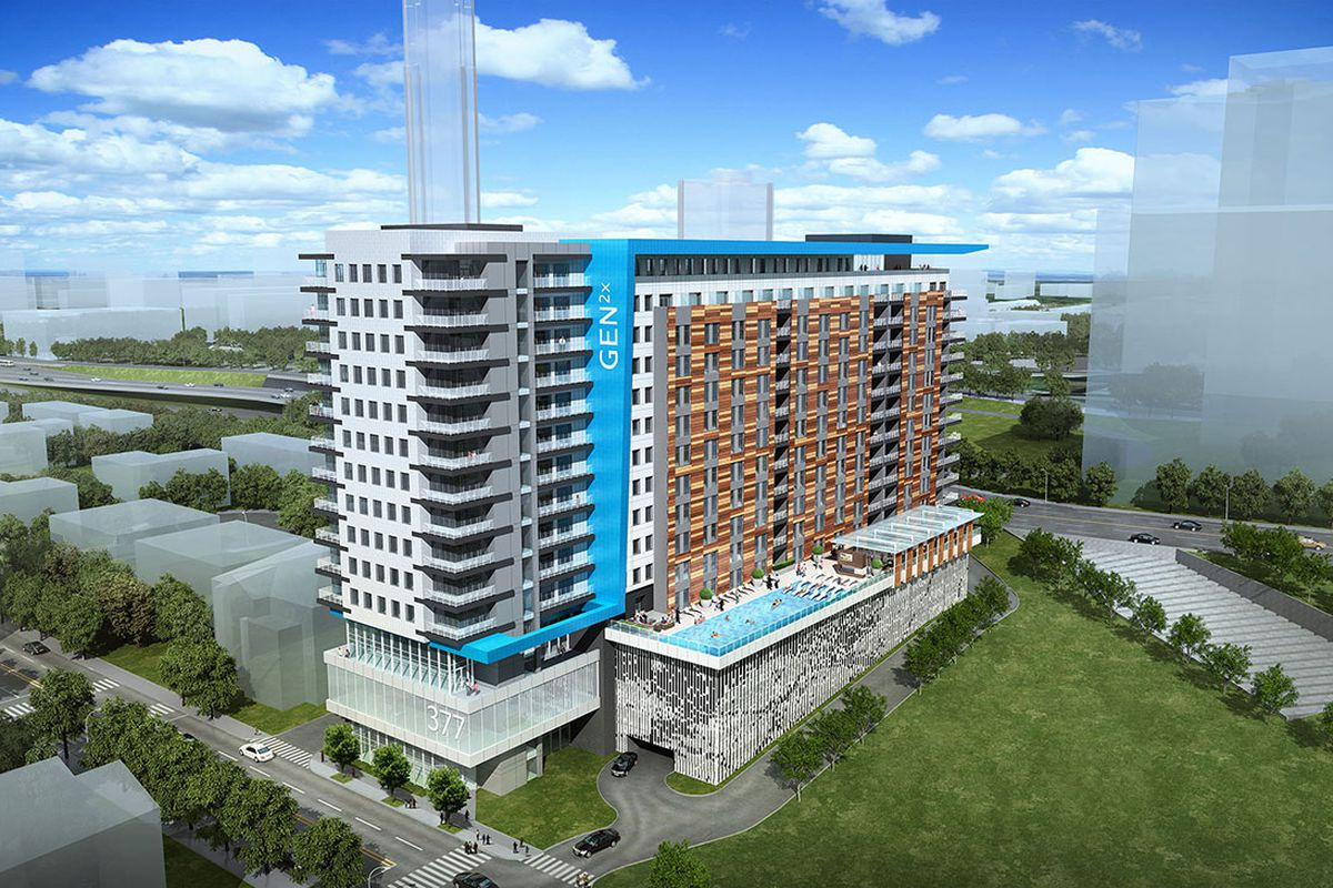 A rendering of the 12-story apartment complex slated for downtown development.