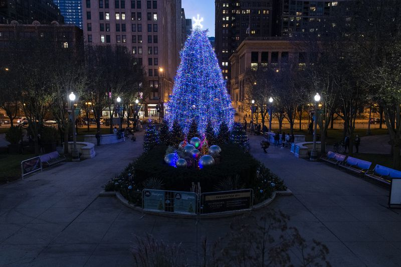 The official 2020 Christmas tree in Millennium Park.