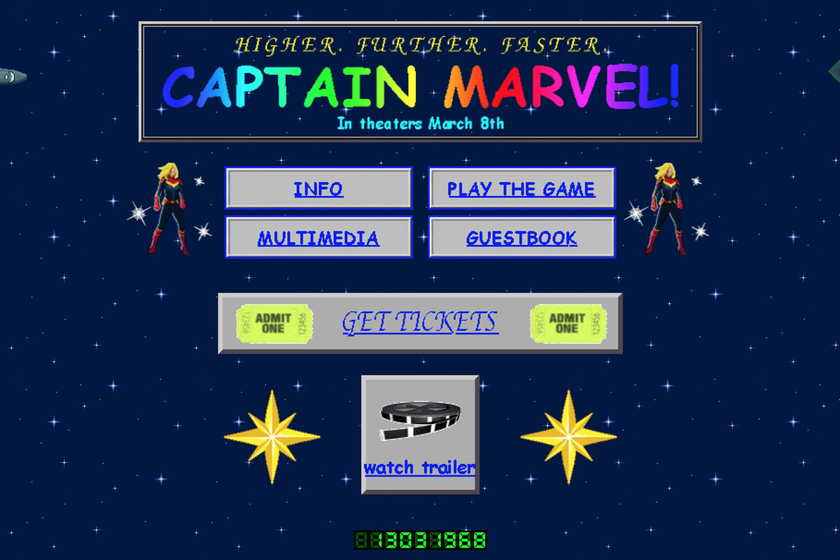 ebbc55ce3f2 Captain Marvel s official site dials up some 1990s web design - Polygon