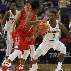 UConn's Christian Vital (1) stays focused while on defense.