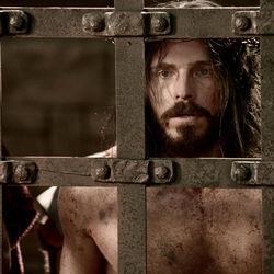 """Jesus being scourged in prison in new LDS Bible video, """"He is Risen."""""""