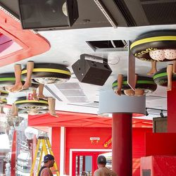 A look at the floaters on the ceiling at Señor Frog's.