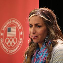 Utahn and skeleton racer Noelle Pikus-Pace talks to the media about wanting to compete in the 2014 Olympics during the United States Olympic Committee 2013 Media Summit at the Canyons Monday, Sept. 30, 2013, in Park City.