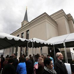 People gather following the cornerstone ceremony of the Star Valley Wyoming Temple Dedication in Afton, Wyoming, on Sunday, Oct. 30, 2016.