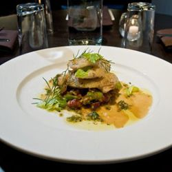 Steuer's halibut cheeks with a ragout of spring garlic, fava beans and Gunthorp Farms bacon
