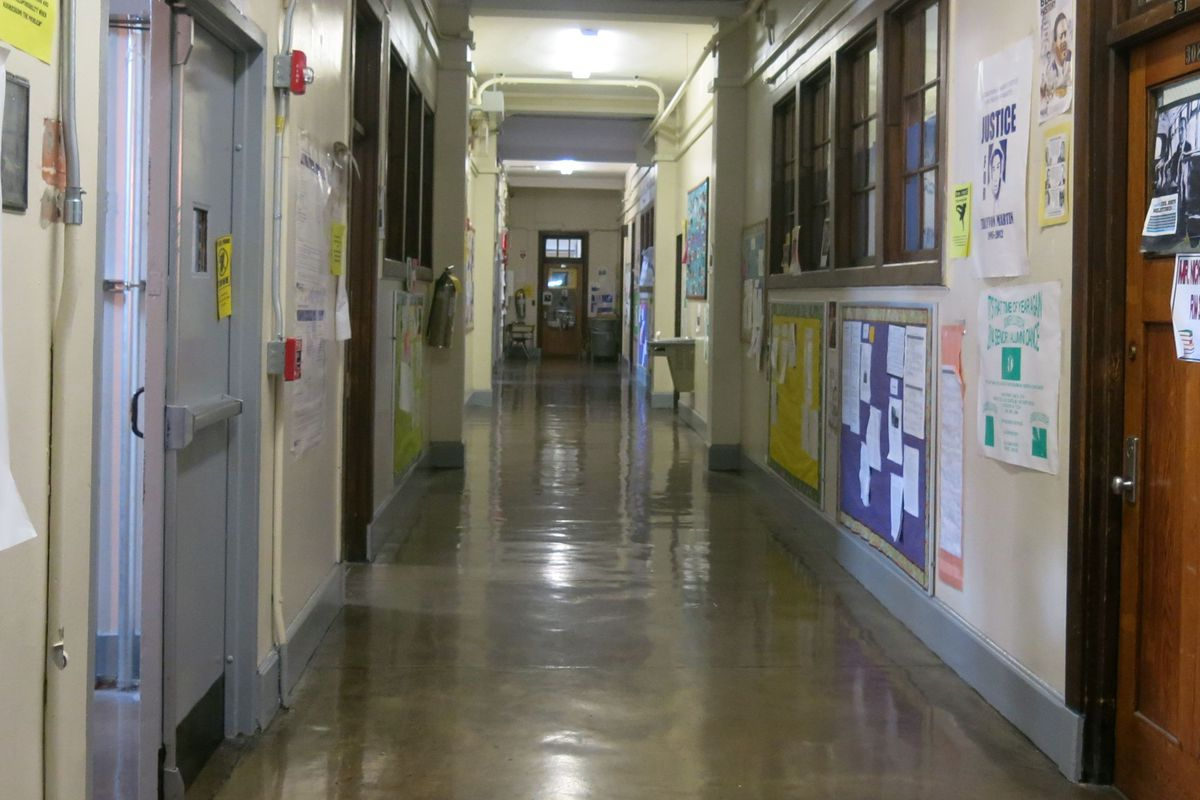 An empty school hallway with no students