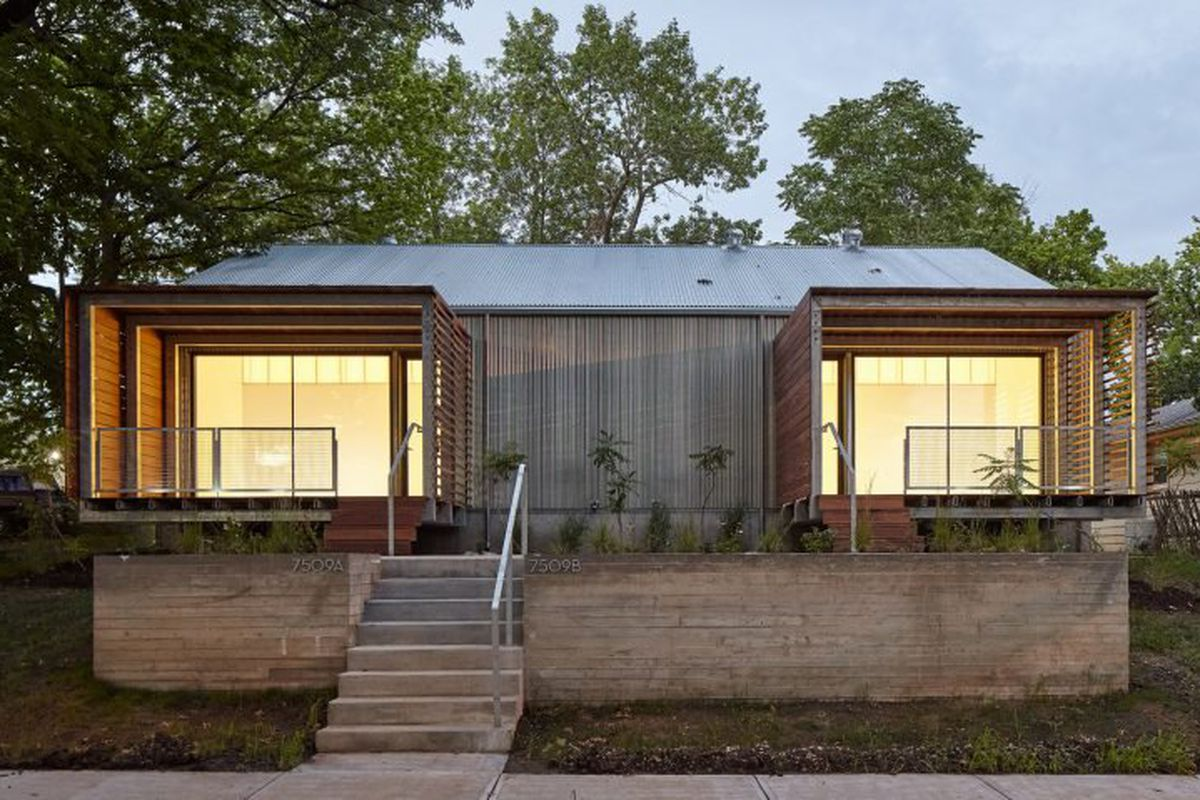 Architecture students build modern duplex for low income for Duplex plans with cost to build