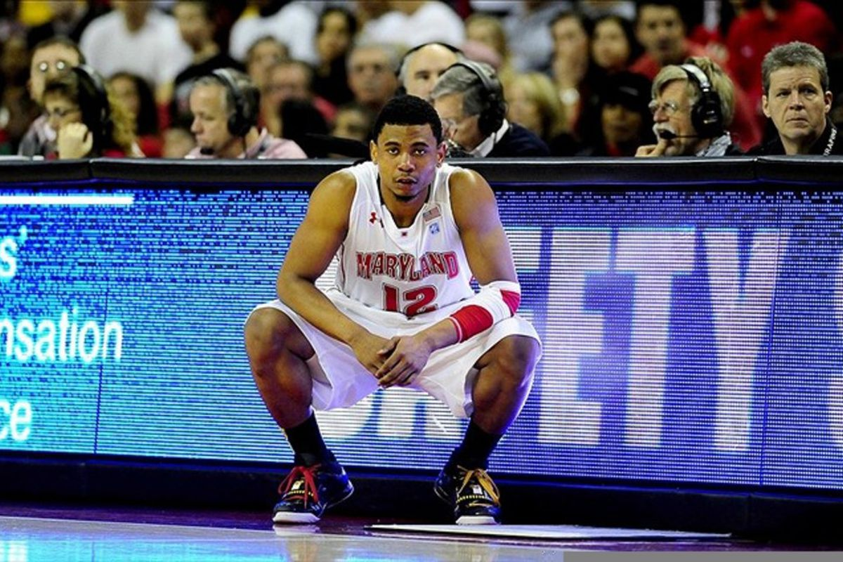 March 4, 2012; College Park, MD, USA; Maryland Terrapins guard Terrell Stoglin (12) during the game against the Virginia Cavaliers at Comcast Center. Mandatory Credit: Evan Habeeb-US PRESSWIRE