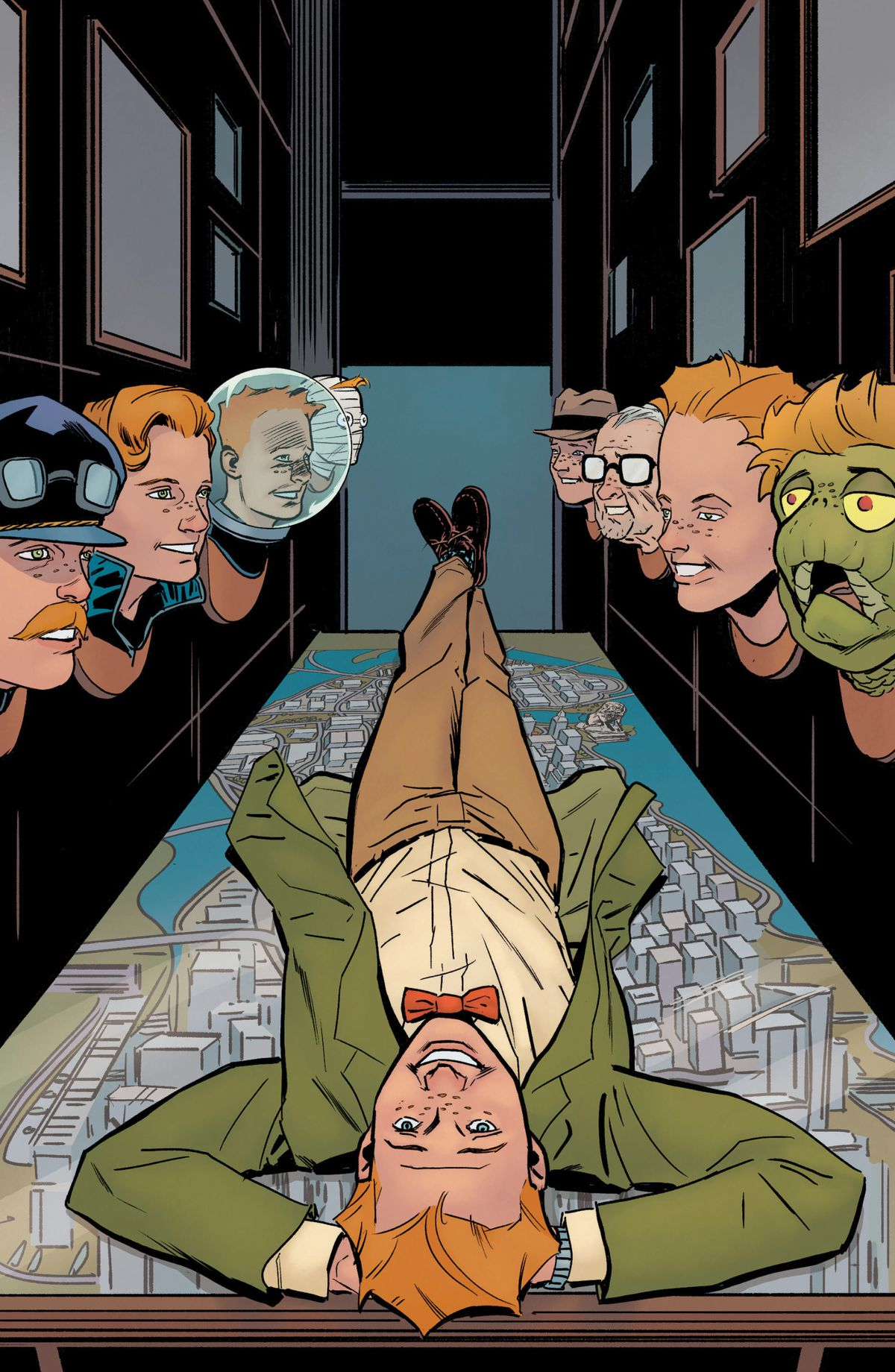 Jimmy Olsen lies supine, hands behind his smiling head on top of a map of Metropolis. He is overlooked by mounted trophy heads of himself in various disguises and transformations, on the cover of Superman's Pal Jimmy Olsen (2020).