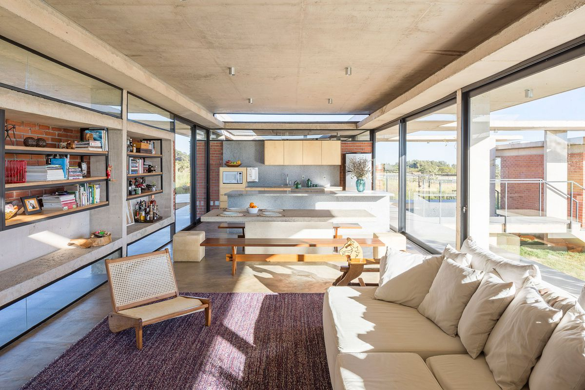 Gorgeous modern home celebrates raw brick and concrete - Curbed
