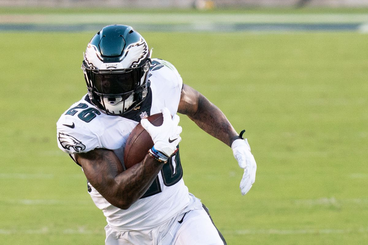 Philadelphia Eagles running back Miles Sanders (26) during the first quarter against the San Francisco 49ers at Levi's Stadium.