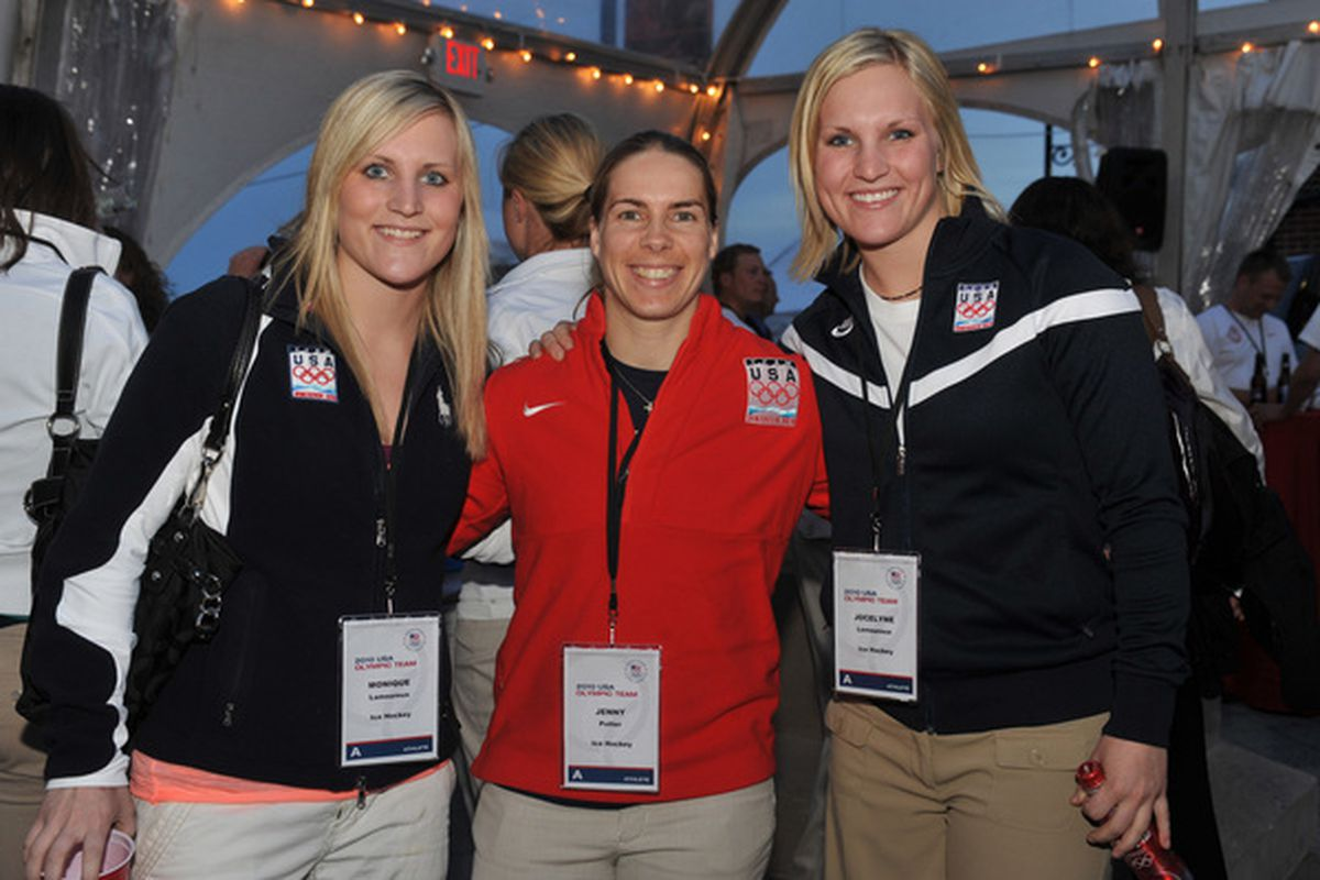 Jenny Potter and the Lamoureux twins look to beat Team Canada today.