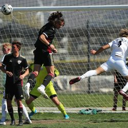 Maple Mountain and Wasatch compete in a high school boys soccer game in Spanish Fork on Thursday, April 29, 2021.