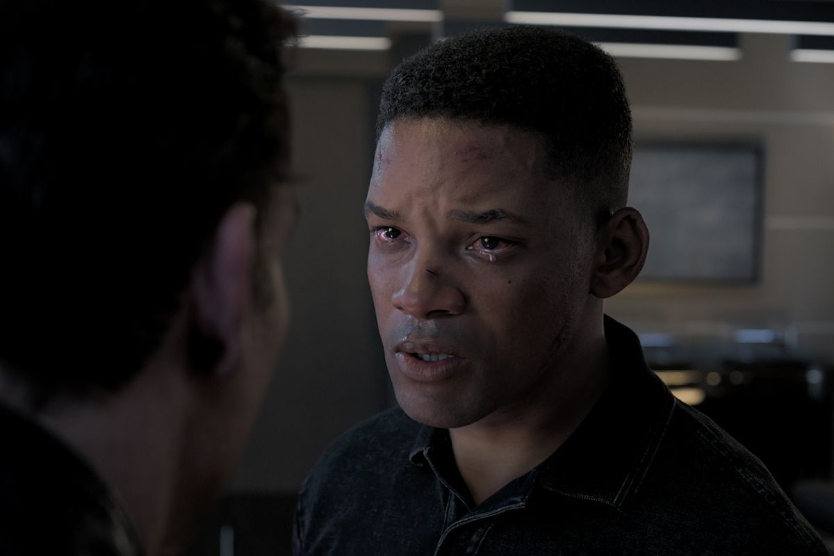 A scene from the movie Gemini Man in which Will Smith plays his younger self.