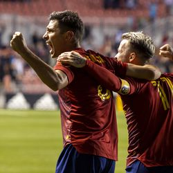 Real Salt Lake midfielder Damir Kreilach (8) and Real Salt Lake midfielder Albert Rusnak (11) celebrates the win as Real Salt Lake defeats the LA Galaxy at Rio Tinto Stadium in Sandy on Wednesday, Sept. 29, 2021. RSL won 2-1.