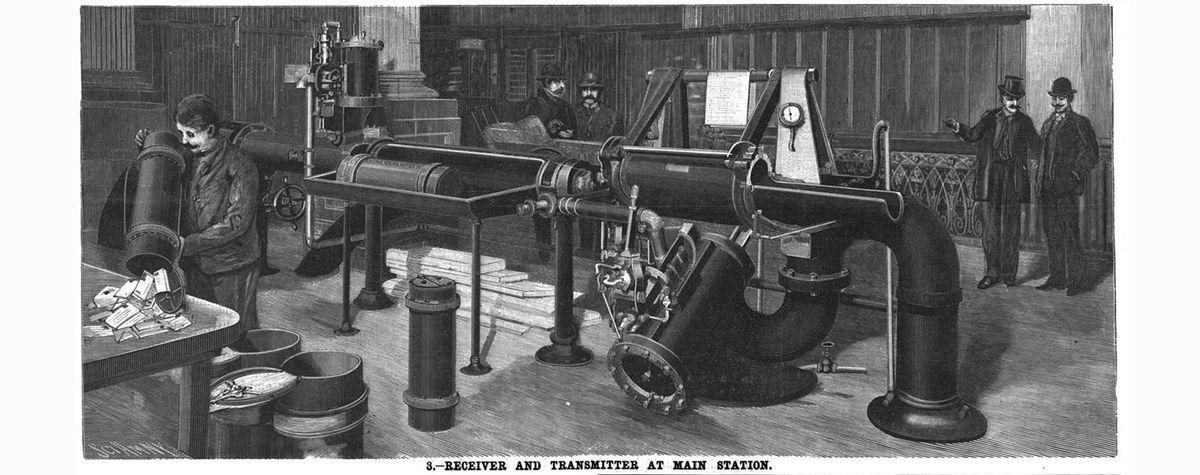 The New York mail system made use of the pneumatic tube.