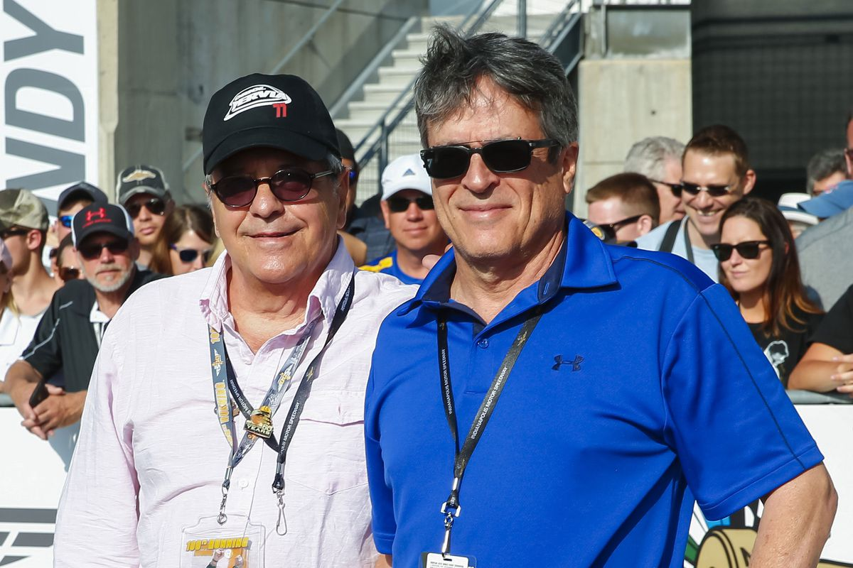 David Anspaugh and Angelo Pizzo at the Indianapolis Motor Speedway in 2016