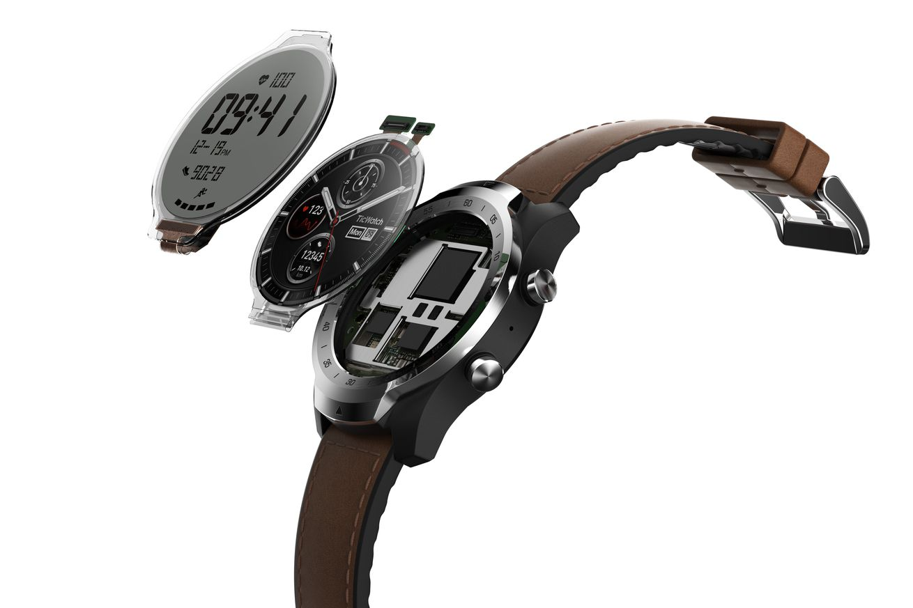 the ticwatch pro uses a transparent second display to save power